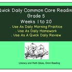 Grade 5 Daily Common Core Reading Practice Weeks 1-20 {LMI}
