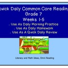 Grade 7 Daily Common Core Reading Practice Weeks 1-5 {LMI}