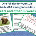 Grades K-1 Full Day Emergency Sub Teacher Plans/Bears Theme