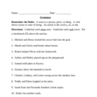 Grammar Worksheet - nouns, verbs, articles