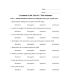 Grammar and Mechanics: 40-point test (sentence types, diagrams)
