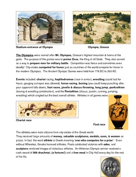 Greece - Greek Olympics - City States - Notes