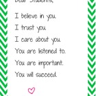 "Green Chevron ""Dear Student"" Poster"