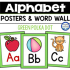 Green Polka Dot Alphabet & Word Wall Cards