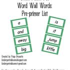 Green Polka Dot Word Wall Words Pre-primer