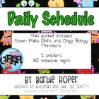Green Polka Dot and Monsters Daily Schedule