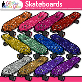 Grinding Glitter Skateboards Clipart - 12 Sparkly Colors -