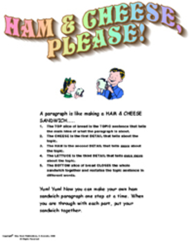 HAM AND CHEESE, PLEASE!  PARAGRAPH WRITING BOOKLET   Grades 2-3