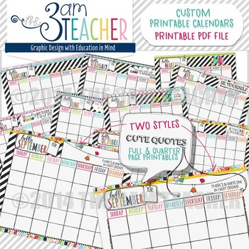 HELLO Planner: Illustrated Printable Calendar Pages