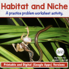 Habitat and Niche Practice Problem Worksheet for Ecology Unit