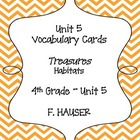 """Habitats"" Vocabulary Cards from Treasures 4th Grade - Unit 5"