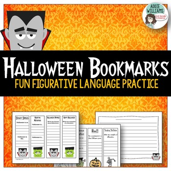 Halloween Bookmarks - Poetry Practice / Blanks / Writing P