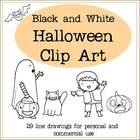 Halloween Clip Art - Black and White Line Drawings
