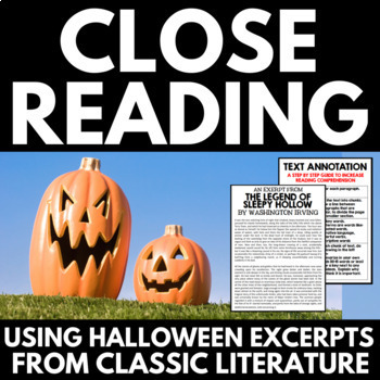 Halloween Close Reading for Middle School Students - with excerpts from classics