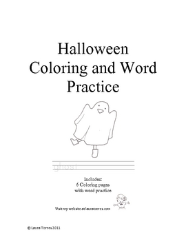Halloween Coloring Pages and Word Practice