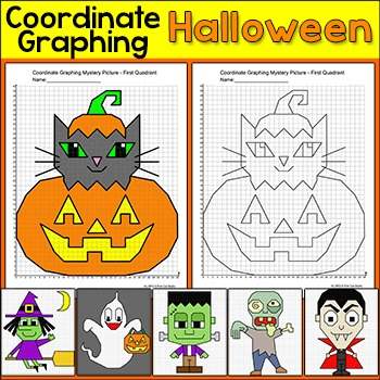 Halloween Coordinate Graphing Mystery Pictures - Ordered pairs and whole numbers