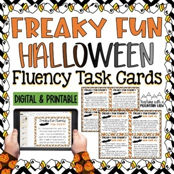 Halloween Fluency Task Cards { Short stories for Oral Fluency Reading Practice }