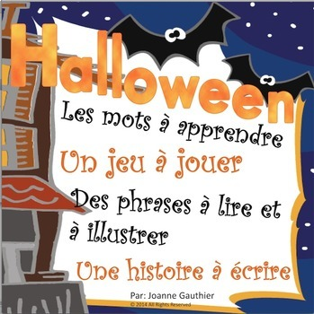 L'halloween: French Halloween Word Wall and Writing Activities