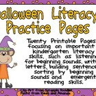 Halloween Literacy Practice Pages Kindergarten- beginning
