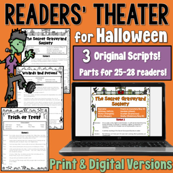 Halloween Readers' Theater BUNDLE (a set of 3 scripts containing 25-28 parts)