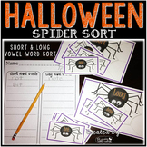 Halloween Spider Sort~Long and Short Vowel Sorting