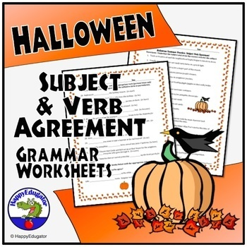 Halloween Subject-Verb Agreement Practice Sheet