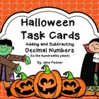 {Free} Halloween Task Cards - Adding and Subtracting Decim