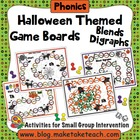 Halloween Themed Game Boards for Blends and Digraphs