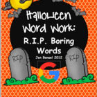 Halloween Word Work: 32 R.I.P. Gravestone Cards, 2 Covers,