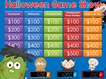 Halloween theme GAME SHOW - CC 2nd-4th Gr w Contestants and Scoreboard ppt