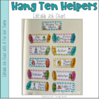 Hanging Ten Helpers -Classroom Job Chart - Editable