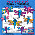 Happy Dragonflies Clip Art -- Freebie