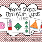 Happy Shapes Matching Clothespin Cards in 3 levels