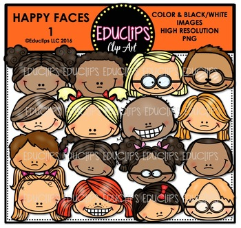 Happy faces Clip Art Bundle