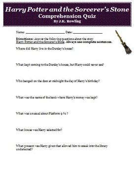 Harry Potter and the Sorcerers Stone Short Quiz and Answer Key