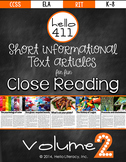 Close Reading Guided Reading - fun & short informational t