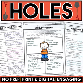 """Holes"" MEGA Activity Packet: A Novel Study of the book by Louis Sachar"