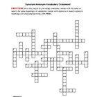 Holes: Synonym/Antonym Vocabulary Crossword--Use w/Bookmar