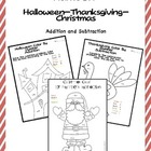 Holiday Color By Numbers (Addition and Subtraction-3 packs