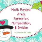 Holiday! *Math Task Cards* Area, Perimeter, Multiplication