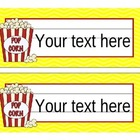 Hollywood Popcorn Movie Theme Editable Nameplates