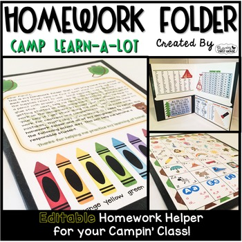 Homework Folder - Camp Learn-a-Lot  {Camping Theme}