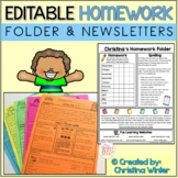 Homework Folder Resources **EDITABLE** cover & 12 months o