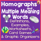 Homographs and Multiple Meaning Words - Activities and Printables