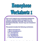 Homophone Worksheets #1 -  Six Pages + Answer Keys