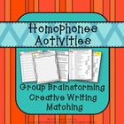 Homophones Activities: Group Listing, Paragraph Writing, a