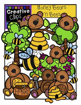 Honey Bears and Bees {Creative Clips Digital Clipart}
