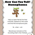 How Can You Tell?  Homophones Center