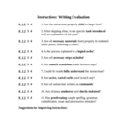 How to Write Instructions: Expository Writing Evaluation Form