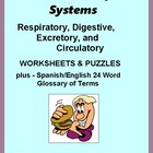 Human Body Systems Worksheets:  Circ., Resp., Excretory, &